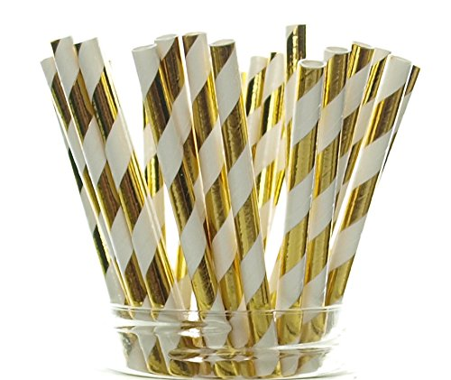(Gold Shiny Foil Straws (25 Pack) - Striped Christmas Straws, Tinsel Paper Straws for 50th Golden Anniversary, Holiday Party Supplies, Gold Wedding Decorations)