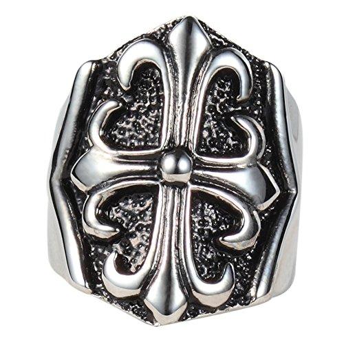 Men's Vintage Classic Stainless Steel Silver Black Large Celtic Cross Ring Band Gothic Biker Punk (Chrome Large Cross)
