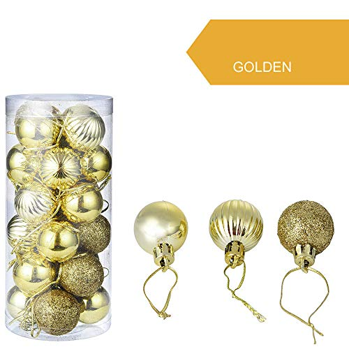 Clearance Sale! 24Pcs 30mm Christmas Tree Ball Bauble Ornaments Xmas Hanging Home Party Ornament Home Decor (Gold)]()