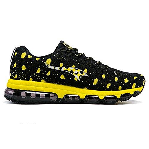 Männer AIR Kissen stricken Laufschuhe athletische Übung klassischen Sneaker Schwarz Gelb