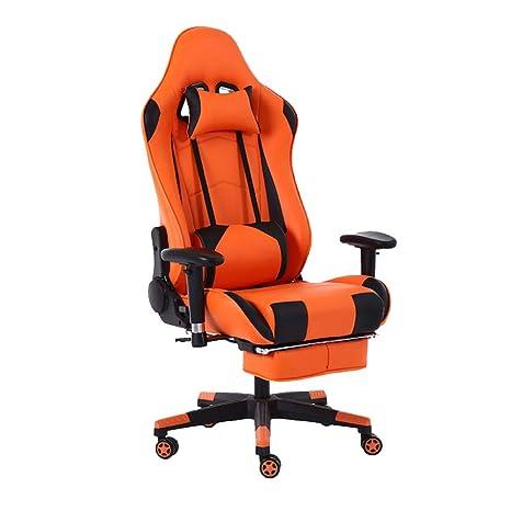 LIULIFE Sillas De Oficina Silla Racing Gaming - Respaldo Ultraconfortable con Reposapiés - Apoyabrazos 4D Ajustables
