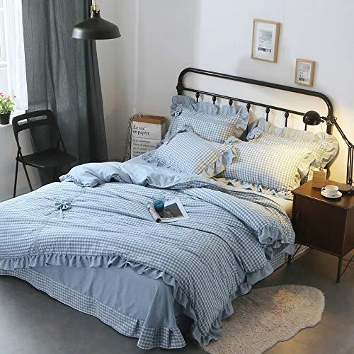 Ksainiy Nordic Simple Rural Retro Style Home Textile Bedding Four Sets of Light Blue Plaid Pattern Quilt Cover 200230cm Standard Quilt Cover by Ksainiy