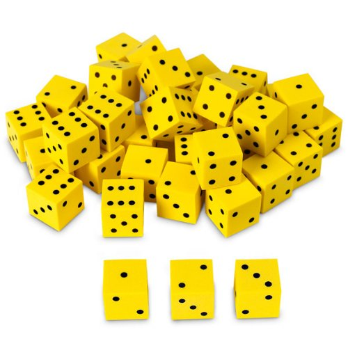 Nasco TB18746T Dot Dice Set, 5/8'' Square, Foam, 36-Piece, Yellow with Black, Grades K+ by Nasco