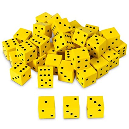 "Nasco TB18746T Dot Dice Set, 5/8"" Square, Foam, 36-Piece, Yellow with Black, Grades K+"