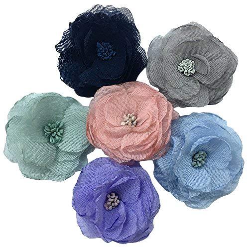 Dandan DIY 6PCS Big Chiffon Ribbon Flowers Bows Appliques Wedding Craft Mix ()