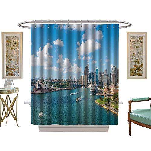 - luvoluxhome Shower Curtains Digital Printing Circular Quay and Opera House Sydney NSW Australia Bathroom Decor Set with Hooks W48 x L84
