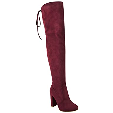 Fashion Thirsty Womens Thigh High Boots Over The Knee Party Stretch Block  Mid Heel Size 5