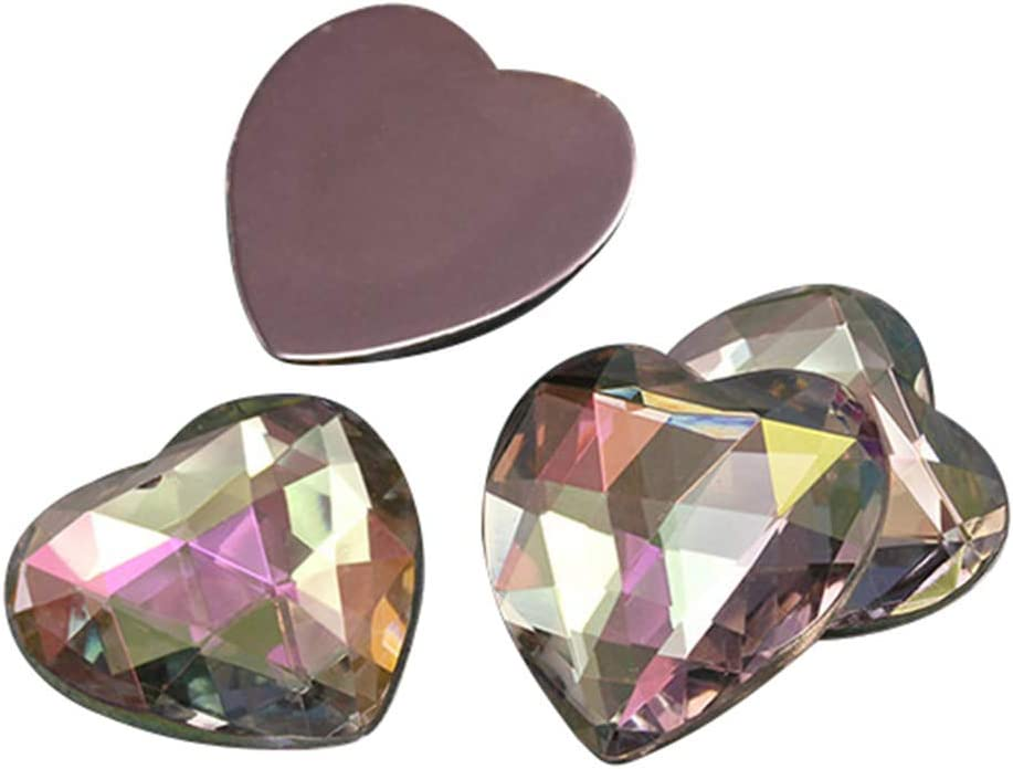 25mm Crystal Clear AB H702 Flat Back Heart Acrylic Gemstones Pro Grade 18 Pieces