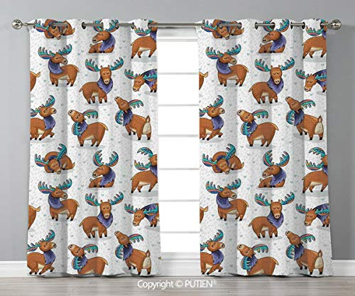 Grommet Blackout Window Curtains Drapes [ Deer,Mooses in Cartoon Elks with Rainbow Antlers Kid Cheerful Comic Pattern,Ginger Turquoise Lavander ] for Living Room Bedroom Dorm Room Classroom Kitchen Ca