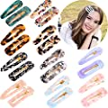 20 Pieces Acrylic Resin Hair Clips Tinfoil Sequin Alligator Barrettes Geometric Hair Clips In Drip Rectangle Triangle Shapes Style Set 2