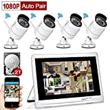 "YESKAMO Home Security Camera System Wireless 1080P with 12"" HD LCD Monitor 4 Channel 2.0 Megapixel WiFi IP Cameras Auto Pair Network Video Recorder for Outdoor Weatherproof CCTV Kit Pre-installed 2TB Surveillance Hard Drive"