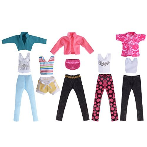 5 Set Doll Clothes Outfit 5 Tops 5 Trousers Pants for Girl's Birthday Gift Xmas Gift