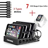 COSOOS Charging Station with 5 lphone Charger Cables,1 Type-C,1 Micro Cable,lWatch Stand Holder,6-Port Docking Station,USB Charging Station for Multiple Devices,Phones,Tablets,Kindle(UL Certified)