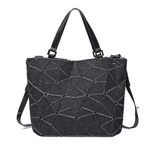 A Tracolla Bag Geometriche Tela Messenger Black Con XZWNB In Tracolla Borsa Tasche A q5IZxwExzn