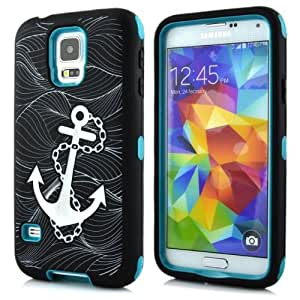 A Sunrise Layers Of Protection Plastic Silicone Hybrid Colorful Anchor Paint Case for Sumsung S5 9600 (Blue)