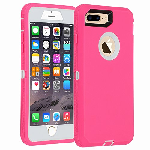 iPhone 7+/8+ Case, [Heavy Duty] Armor 3 in 1 (No Screen Protector) Rugged Cover Dust-Proof Shockproof Drop-Proof Scratch-Resistant Shell for Apple iPhone 7 Plus/8 Plus 5.5,Pink