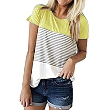 Alixyz Women T-Shirt Triple Color Block Stripe Short Sleeve Casual Fashion Blouse