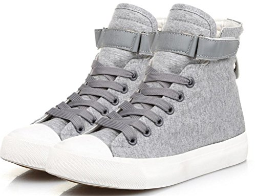Mens Casual High Top Flat Canvas Shoes Fashion Sneakers Grey GbjMWQ