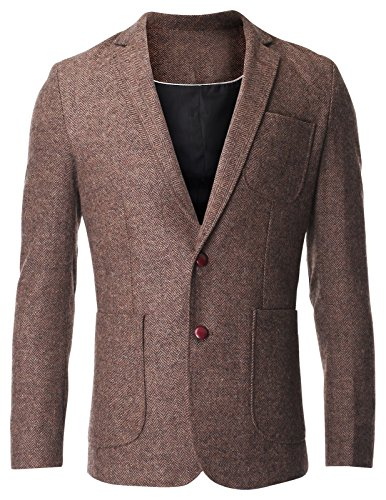 FLATSEVEN Men's Herringbone Tweed Sport Coat Wool Blazer Jacket with Elbow Patches (BJ426) Brown, US S/Asia - Tweed Herringbone Coat