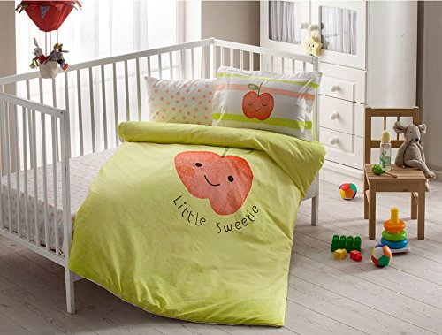 100% Organic Cotton Soft and Healthy Baby Crib Bed Duvet Cover Set 4 Pieces, Hallmark Baby Bedding Set by TAC