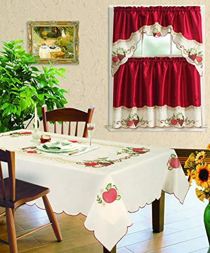 """All American Collection New 3pc Embroidered Fruits Kitchen Curtain Set and Tablecloth Sold Seperately (Tablecloth 60"""" x"""