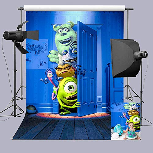 Blue Photography Backdrop Cartoon Horror Monster Photo Background 5x7ft Vinyl Playroom Decorations Children Baby Boys Birthday Photo Booths Studio Booth Props Party Banner Supplies