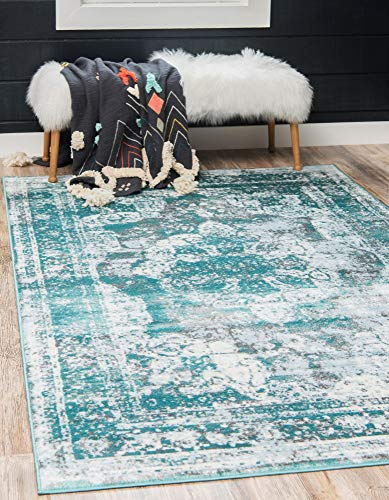 Unique Loom 3137824 Sofia Collection Traditional Vintage Beige Area Rug, 9' 0 x 12' 0 Rectangle, Turquoise