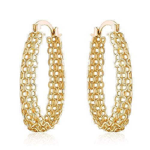Barzel 18K Gold Plated Filigree Link Mesh Braided Hoop Earrings (Gold) ()