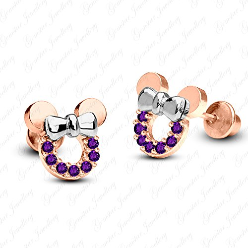 Gemstar Jewellery 18K Rose & White Gold Finishing Round Amethyst Minnie Mouse Disney Stud Earrings