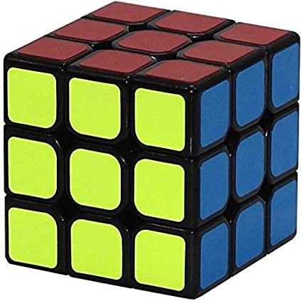 PUJAARA Black Background Colourful Cube 3D-Puzzle Cube 3x3x3 Amazing Stress Reliever Cube Game Play Puzzle Toy (Single)