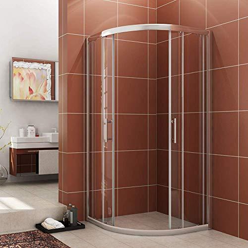 (SUNNY SHOWER B22 Neo-Round Corner Shower Enclosure Semi-Frameless Glass Sliding Shower Doors 1/4