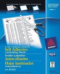 Avery Self-Adhesive Laminating Sheets, 9\
