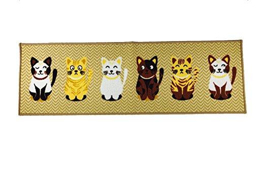 Wolala Home Cute 6 Cats Rubber Bottom Kitchen Rug Runner Antifouling Non-slip Bedroom Bedside Foot Mat Machine-wash Pets Carpet Thin (1'3x4', Cat)