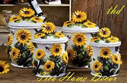 Sunflower Canisters For Kitchen   Amazon Com Sunflower Kitchen Canisters 4 Pc Canisters Sunflower