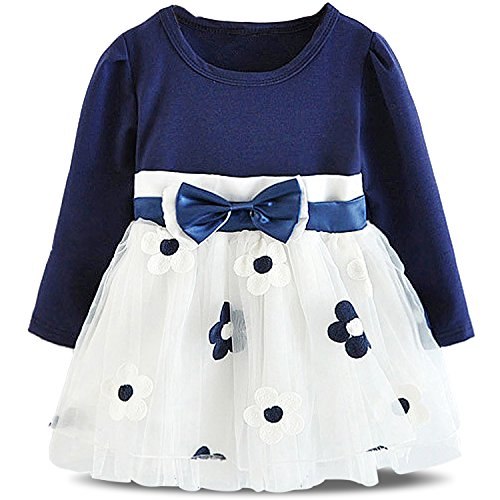 NNJXD Baby Girl Long Sleeve Cotton Kids Casual School Dress for Children Size 6-9 Months Blue (Blue Dress For Kids compare prices)