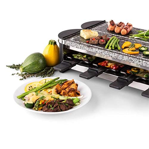 Easy Setup in 360/° Rotation Serve the whole family Dual Stone Raclette Artestia Electric Dual Raclette Grill with High Density Grill Stones
