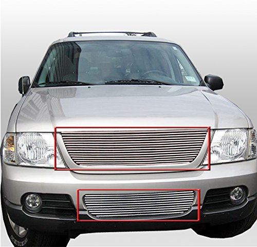 2002 Ford Explorer Grill - ZMAUTOPARTS Upper + Bumper Billet Grille Grill Insert 2pcs Combo For 2002-2005 Ford Explorer