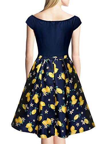 Miusol Vestido de Mujer Vintage Limón Vestido de Noche Coctel Elegante Vestido Azul