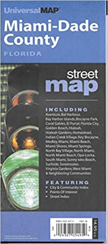 Universal Florida Map.Miami Dade County Fl City County Street Folding Maps Universal
