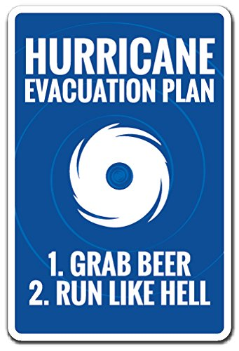 Hurricane Evacuation Plan Novelty Sign | Indoor/Outdoor | Funny Home Décor for Garages, Living Rooms, Bedroom, Offices | SignMission parking sign Wall Plaque Decoration - Hurricane Evacuation Sign