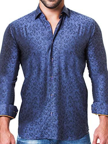 Maceoo Mens Designer Dress Shirt - Stylish & Trendy - Fibonacci Strokes Blue - Tailored Fit (Collar Shirt Italian Dress Cotton)