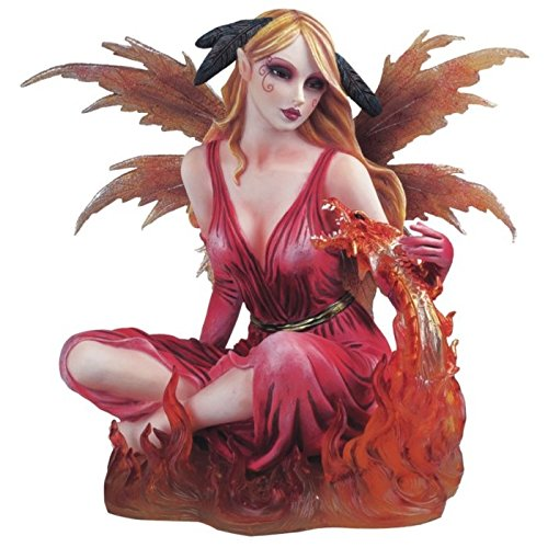 StealStreet Fire Fairy with Red Dragon Collectible Figurine Decoration Statue