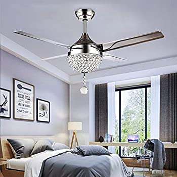 Tropicalfan Crystal Modern Ceiling Fan Remote Control Home Decoration  Living Room Dinner Room Simple LED Mute Electric Fans Chandeliers 4  Stainless Steel ...