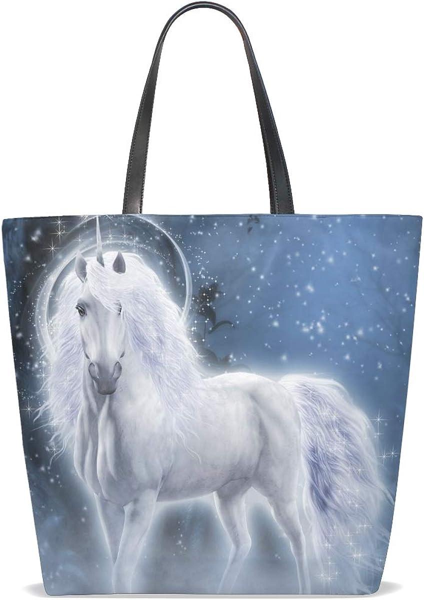 Tote Bag Fantasy Animal Unicorn 8 for Women Handbag Vintage Crossbody Leather Purse Pattern