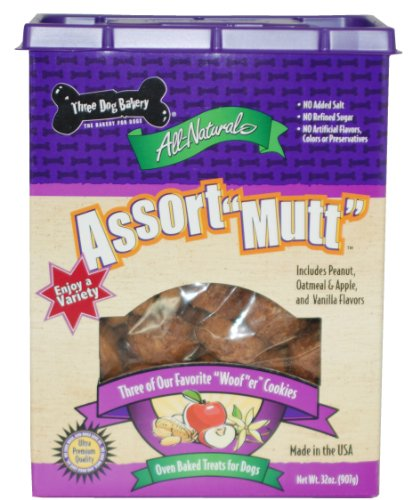 "Three Dog Bakery Assort""Mutt"" Cookie Assortment, Peanut, Oatmeal Apple and Vanilla ""Woof""er Cookies, Baked Dog Treats, 32 ounces, My Pet Supplies"