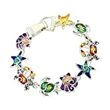 DianaL Boutique Colorful Sea Turtle Shell Seashell Starfish Crab Magnetic Clasp Charm Bracelet Gift Boxed Fashion Jewelry