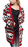 Womens Oversized Christmas Reindeer Cardigan (Small, Red Reindeer Cardigan)