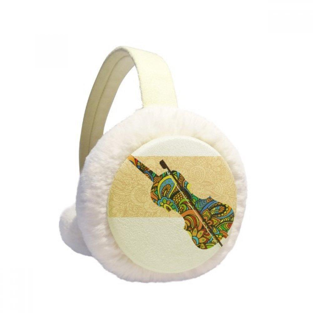 Violin Rock Music Festival Poster Winter Earmuffs Ear Warmers Faux Fur Foldable Plush Outdoor Gift