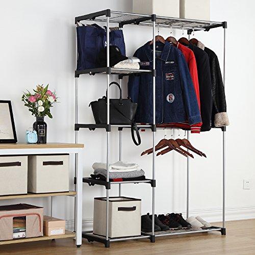 Housen Solutions Freestanding Closet Organizer Double Rod Garment Rack