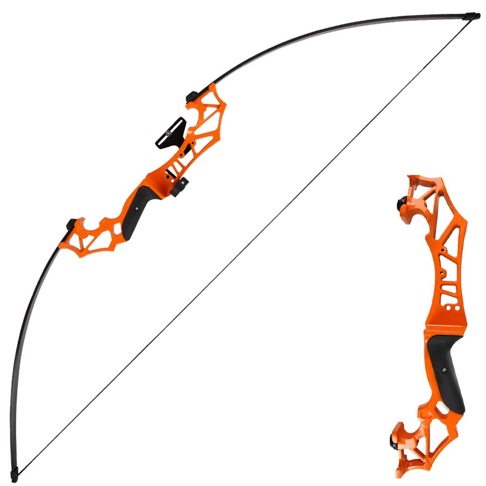 TOPARCHERY Archery Takedown Recurve Bow Hunting Long Bow Set Alloy Riser - Right Hand Black - Draw Weight 30lbs 40lbs - with Arrow Sight, Arrow Brush (Orange, 30lbs)